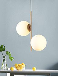 cheap -2-Light Nordic bedroom pendant light creative personality simple post-modern glass ball bar coffee restaurant pendant lamp