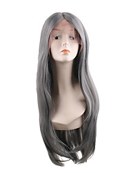 cheap -Synthetic Lace Front Wig Natural Straight Middle Part Wig Long Synthetic Hair 28 inch Women's Soft Adjustable New Gray
