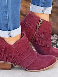 cheap -Women's Boots Low Heel Round Toe Suede Booties / Ankle Boots Summer Black / Burgundy / Khaki