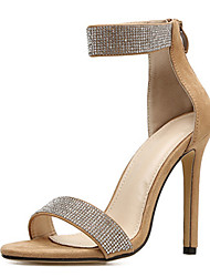 cheap -Women's Sandals Stiletto Heel Peep Toe Rhinestone Synthetics Sweet / Minimalism Spring &  Fall / Summer Black / Beige / Party & Evening / Party & Evening