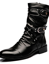 cheap -Men's Combat Boots PU Fall Casual Boots Wear Proof Mid-Calf Boots Black