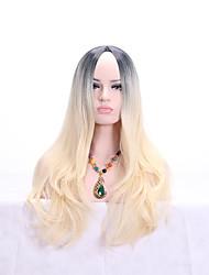 cheap -Synthetic Wig Body Wave Layered Haircut Asymmetrical Wig Long Black / White Black / Brown Synthetic Hair 24 inch Women's Fashionable Design Women White Brown