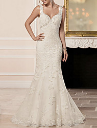 cheap -Mermaid / Trumpet Sweetheart Neckline Sweep / Brush Train Lace Spaghetti Strap Made-To-Measure Wedding Dresses with Appliques 2020