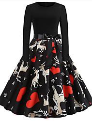 cheap -Women's Sheath Dress - Animal Black S M L XL