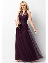 cheap -A-Line Halter Neck Floor Length Chiffon / Tulle Bridesmaid Dress with