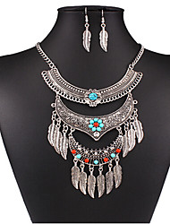 cheap -Women's Turquoise Necklace Tassel Leaf Vintage Earrings Jewelry Silver For Holiday 1 set