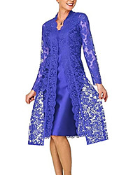 cheap -Women's Lace Knee Length Dress - Long Sleeve Solid Colored Lace Clothing Spring Fall V Neck Plus Size Hot For Mother / Mom Going out Lace 2020 Black Blue Red Gray S M L XL XXL 3XL 4XL 5XL / Satin