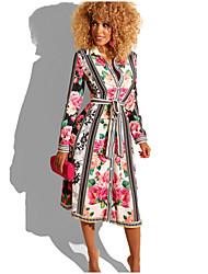 cheap -Women's A Line Dress - Floral Red S M L XL