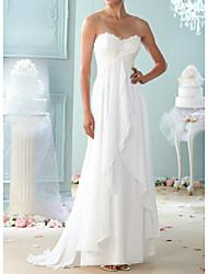 abordables -Trapèze Coeur Traîne Brosse Mousseline de soie / Dentelle Sans Bretelles Robes de mariée sur mesure avec Appliques / Volants 2020