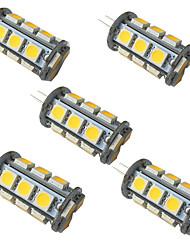 cheap -5pcs 3.5 W LED Bi-pin Lights 350 lm G4 GU6.5 18 LED Beads SMD 5050 Warm White White 9-30 V
