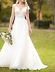 cheap -A-Line Wedding Dresses V Neck Sweep / Brush Train Lace Tulle Spaghetti Strap with Lace 2021
