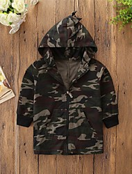 cheap -Kids Boys' Basic Punk & Gothic Print Color Block Print Short Jacket & Coat Army Green