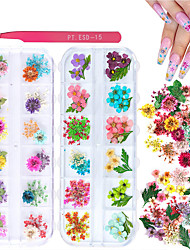 cheap -2 Boxes Dried Flowers for Nail Art KISSBUTY 24 Colors Dry Flowers Mini Real Natural Flowers Nail Art Supplies  (Gypsophila Flowers Leaves)
