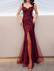 cheap -Mermaid / Trumpet Spaghetti Strap Floor Length Polyester Sparkle / Red Prom / Party Wear Dress with Sequin / Split Front 2020