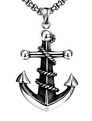 cheap -Men's Pendant Necklace Geometrical Anchor Fashion Titanium Steel Silver 60 cm Necklace Jewelry 1pc For Daily Holiday
