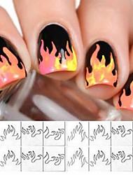 Недорогие -5 шт. / Компл. Горячий стиль цвет пламени наклейки лазерные наклейки с ламинацией аврора пламя наклейки