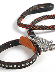 cheap -Defeng Dog Leash Dog Chain Large Dog Breed Leather Cowhide Traction Rope Collar(Ran dom Color)