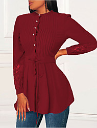 cheap -Women's Holiday Blouse Solid Colored Lace Patchwork Long Sleeve Tops Elegant Blue Red Green