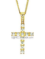 cheap -Men's Women's Pendant Necklace Chain Necklace Long Necklace Geometrical Cross Unique Design Fashion Hip-Hop Zircon Gold Plated Gold Silver 60 cm Necklace Jewelry 1pc For Street