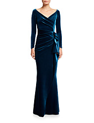 cheap -Mermaid / Trumpet V Neck Floor Length Velvet Elegant Formal Evening Dress with Draping 2020