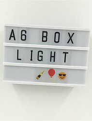 cheap -A6 Black Body Light box Staycation Led Night Lamp Diy Message Board With Black Letters /Numbers AAA Battery Powered Portable Cinema Box Home Decor Lighting (come without battery)