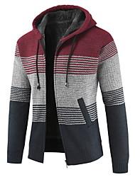 cheap -Men's Striped Long Sleeve Cardigan Sweater Jumper, Hooded Blue / Red / Light gray US36 / UK36 / EU44 / US38 / UK38 / EU46 / US40 / UK40 / EU48