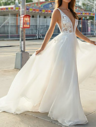 cheap -A-Line V Neck Sweep / Brush Train Chiffon / Lace Spaghetti Strap Illusion Detail / Backless Wedding Dresses with Appliques 2020