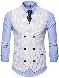 cheap -Men's Vest, Polka Dot V Neck Polyester Black / White / Navy Blue