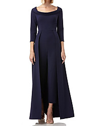 cheap -Pantsuit / Jumpsuit Scoop Neck Floor Length Jersey 3/4 Length Sleeve Jumpsuits Mother of the Bride Dress with Tier 2020 / Bell Sleeve