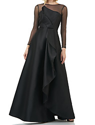 cheap -A-Line Elegant Formal Evening Dress Jewel Neck Long Sleeve Floor Length Taffeta Tulle with Ruffles 2020