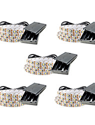 cheap -1m Flexible LED Light Strips 60 LEDs SMD3528 5mm Warm White / White / Red Waterproof / Party / Decorative Batteries Powered 5pcs