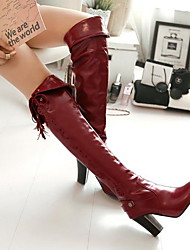 cheap -Women's Boots Over-The-Knee Boots Chunky Heel Round Toe PU Over The Knee Boots Fall & Winter Black / White / Burgundy