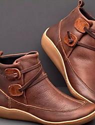 Недорогие -Жен. Ботинки На плоской подошве Круглый носок Полиуретан Ботинки Наступила зима Черный / Коричневый / Светло-красный