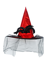 cheap -Witch Hat Halloween Props Masquerade Women's Hat Halloween Halloween Carnival Masquerade Festival / Holiday Lace Plush Black / Purple / Red Women's Carnival Costumes