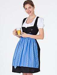 Недорогие -Октоберфест Широкая юбка в сборку Trachtenkleider Жен. Платье баварский Костюм Синий