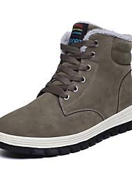 cheap -Men's Combat Boots Pigskin Winter Casual Boots Walking Shoes Warm Black / Blue / Khaki