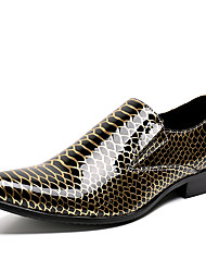 cheap -Men's Novelty Shoes Nappa Leather Spring / Fall & Winter Casual / British Loafers & Slip-Ons Non-slipping Leopard Gold / Party & Evening