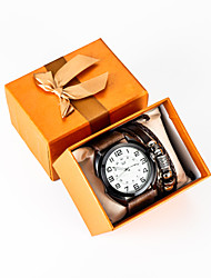cheap -Men's Sport Watch Quartz PU Leather Brown No Chronograph Creative New Design Analog New Arrival Fashion - Brown One Year Battery Life