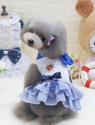 cheap -Dogs Outfits Dog Clothes Light Blue White Yellow Costume Polyster Flower / Floral Wedding XS S M L XL
