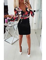 cheap -Women's Sheath Dress - Long Sleeve Solid Colored Print Deep V Basic Daily Wear White Black Blue Red S M L XL