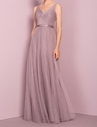 cheap -A-Line V Neck Floor Length Tulle Bridesmaid Dress with Sash / Ribbon / Pleats