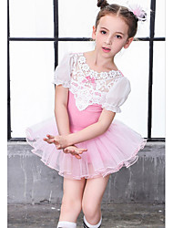 cheap -Ballet Outfits Girls' Training / Performance Cotton / Mesh / Lace Lace Short Sleeve Top / Shorts