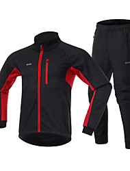 cheap -Arsuxeo Men's Cycling Jacket with Pants Winter Fleece Spandex Bike Clothing Suit Fleece Lining Reflective Strips Sports Black / Red / Black / Green / Black / Blue Mountain Bike MTB Clothing Apparel