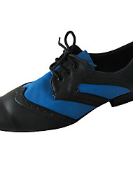 cheap -Men's Modern Shoes / Ballroom Shoes Leather Lace-up Heel Thick Heel Dance Shoes Black / Blue