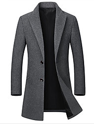 cheap -Men's Daily Basic Fall / Winter Long Coat, Solid Colored Notch Lapel Long Sleeve Wool / Polyester Black / Wine / Gray / Slim