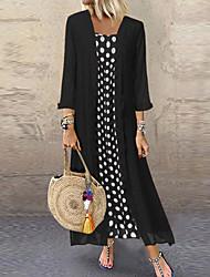 cheap -Women's Two Piece Dress Maxi long Dress - Long Sleeve Polka Dot Print Casual Black Blushing Pink Orange S M L XL XXL XXXL XXXXL XXXXXL