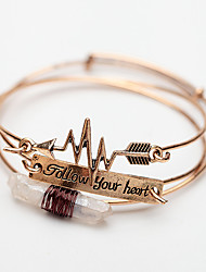 cheap -3pcs Women's Clear Bracelet Bangles Earrings / Bracelet Layered Heart Rate Arrow Vintage Trendy Korean Fashion Boho Stone Bracelet Jewelry Gold / Silver For Daily