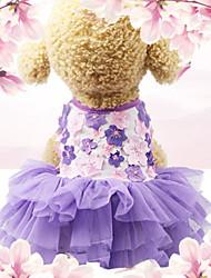 cheap -Dogs Cats Pets Dress Dog Clothes Purple Costume Polyster Floral / Botanical Wedding XS S M L XL XXL