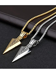 cheap -Men's Pendant Necklace Geometrical Vertical / Gold bar Fashion Titanium Steel Gold Silver 70 cm Necklace Jewelry 1pc For Daily Work