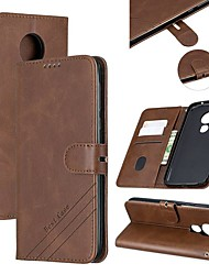 cheap -Case For Motorola MOTO G6 / Moto G6 Play / Moto G7 Wallet / Card Holder / with Stand Full Body Cases Solid Colored PU Leather
